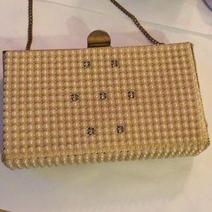 Vintage pearl rhinestone clutch